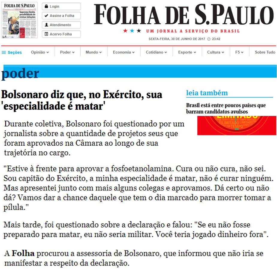Bolsonaro sabe matar